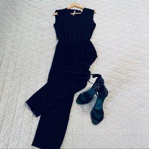 Black Slit-Back Jumpsuit